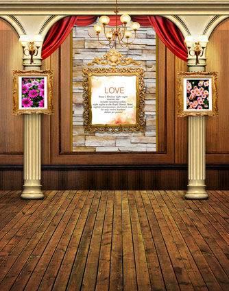 8x15ft Indoor Curtain Pillars Love Frame Lamp Wooden Floor