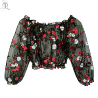 Black Off Shoulder Embroidery Floral Semi Sheer Mesh Cropped Blouse Women Long Sleeve Elastic Cuffs High