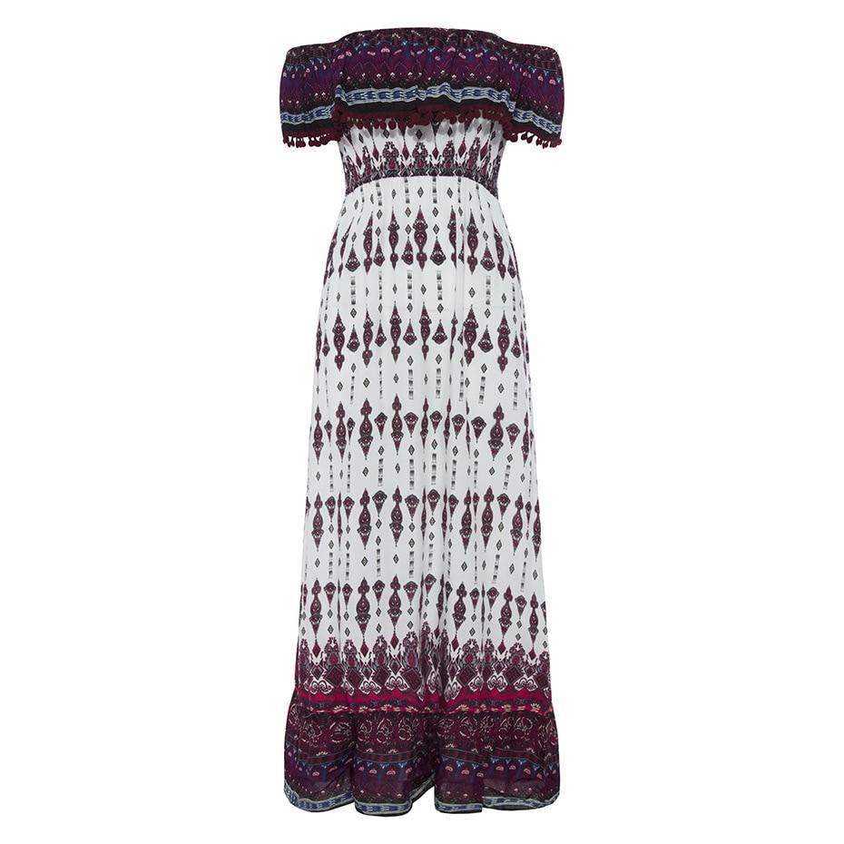 Summer Beach Off Shoulder Dress Bohemian Folk Print Slash Neck Dress Lady Casual Expansion Boho Long Maxi Dress