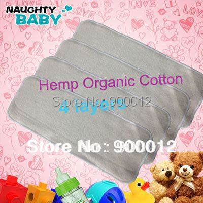 Free Shipping Naughty Baby All Hemp Organic cotton 50pcs 4 Layers Washable Reusable Baby Cloth Diaper