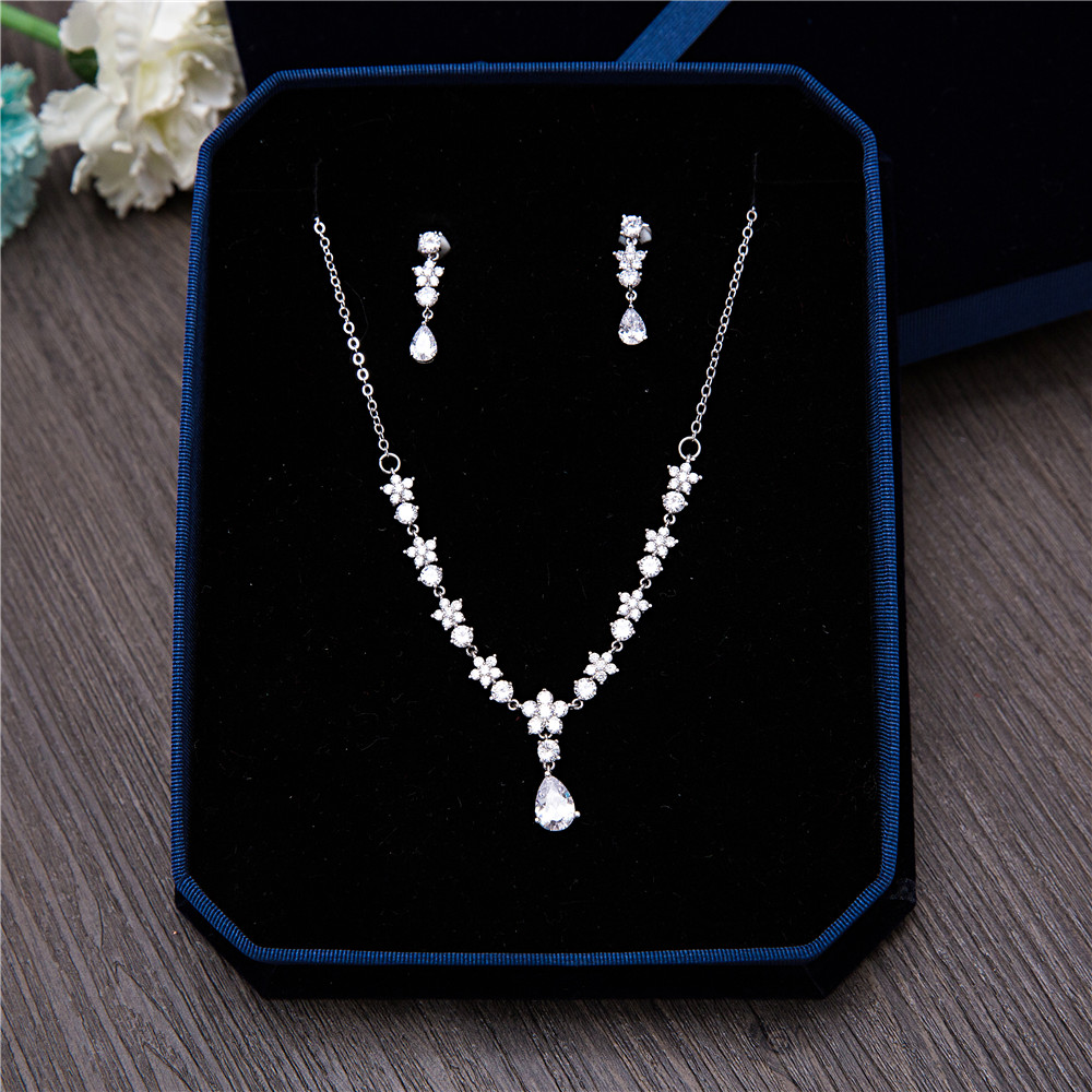 AAA Clear Cubic Zirconia Flower Necklace Earrings Jewellery Sets CZ Zircon Stone Wedding Jewelry Sets for