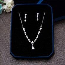 AAA Clear Cubic Zirconia Flower Necklace Earrings Jewellery Sets CZ Zircon Stone Wedding Jewelry Sets for Brides Prom Choker Set