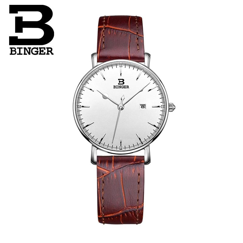 BINGER Ultra thin simple luxury Fashion Women s watches quartz watch bracelet wristwatches leather band women