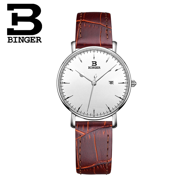BINGER Ultra-mince simple de luxe mode femmes montres à quartz montre bracelet montres bracelet en cuir bande femmes dreaa montres