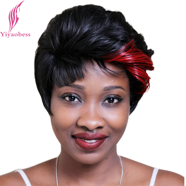 Yiyaobess 8inch Red Black Hair Highlights Short Wig For Middle Age