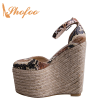 Straw Espadrilles 20cm Wedges Platform Super High Heels Clogs 2019 Women Snake Print Ladies Shoes Strange Heels Shoes Size 45