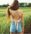 Camisola enrolada no peito fita Chiffon sling sexy colete mulheres verão