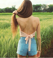 Camisola pecho envuelto volver cinta de la gasa de la honda chaleco atractivo de la playa mujeres del verano tops