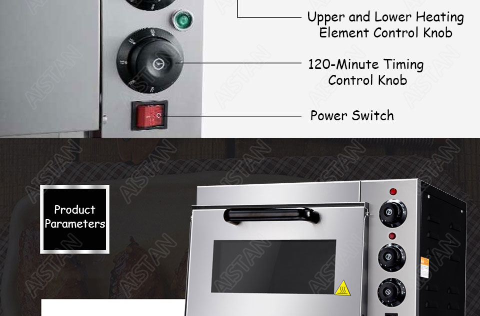 EP1AT electric stainless steel single layer higher chamber pizza oven with timer for baking bread, cake, pizza 23