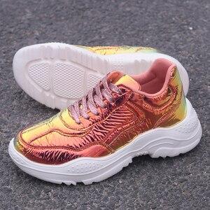 Image 5 - Baskets de styliste à paillettes pour femmes, baskets de luxe à plateforme lumineuse, tennis épais, chaussures décontractées