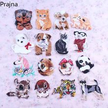 Barato Bonito Do Cão Tigre Urso Remendo Gato Unicórnio Corgi Applique Crachá Anime Bordados de Ferro No Cartoon Patches Para Roupas Listras(China)