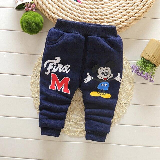 Мальчики Толстые зимние брюки плюс бархат теплой ребенка мальчик Брюки мальчик штаны мультфильм двойной детская одежда брюки