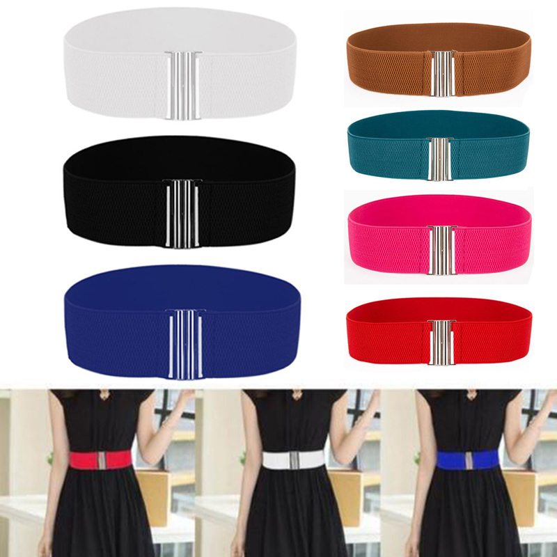 Women's   Belt   Stretch Skinny Elastic Wide Ceinture Corset Tie Wrap Waist Soft Vintage Femme Red Black Blue Dress   Belt   Accessories