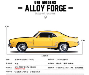 Image 2 - Vintage cars, Chevrolet Ke Mailuo SS 1969,Collection high quality emulation alloy car,pull back toys,free shpping