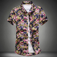 Blouse Men Floral Printed Dress Shirts Plus Size 5XL 2017 Fashion Slim Male Summer Hawaiian Casual