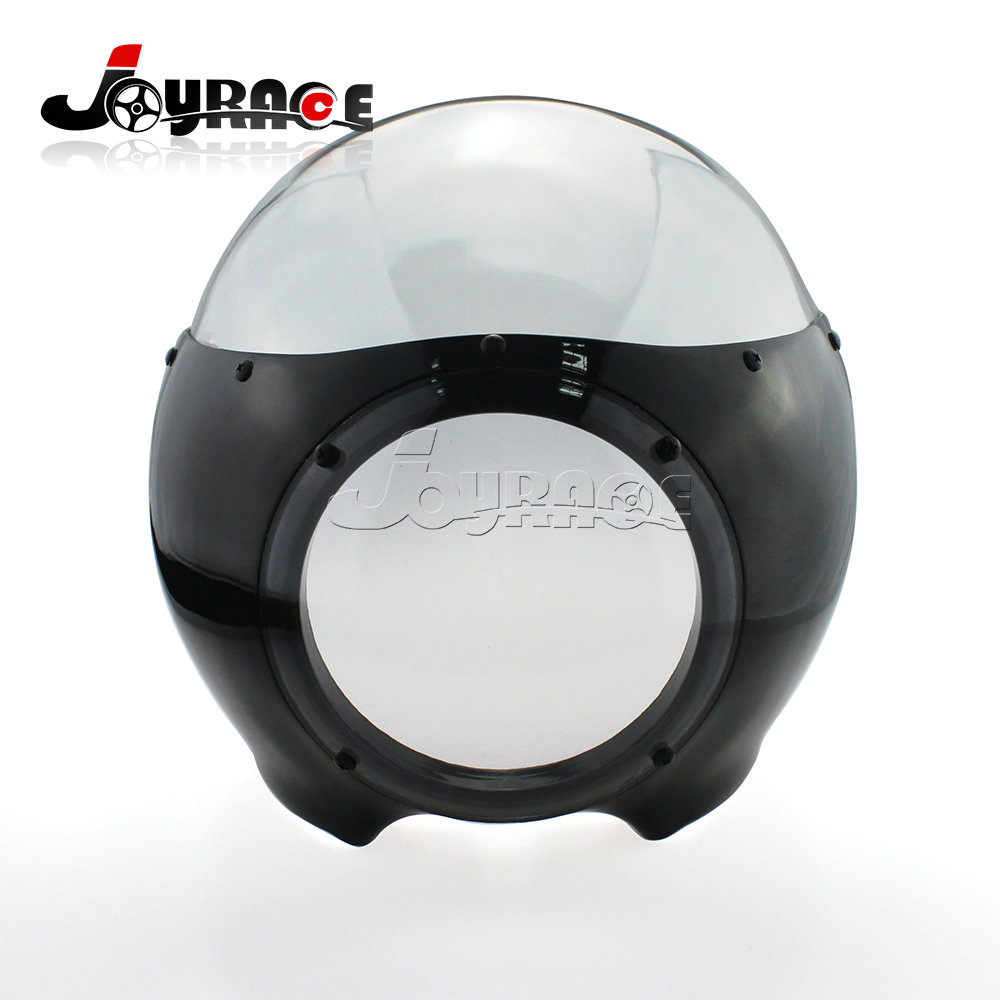 Motorcycle 5-3/4 Headlight Fairing Screen Black Clear Retro Cafe Racer Drag Accessories for Harley Davidson Sportster 883 1200 mtsooning timing cover and 1 derby cover for harley davidson xlh 883 sportster 1986 2004 xl 883 sportster custom 1998 2008 883l