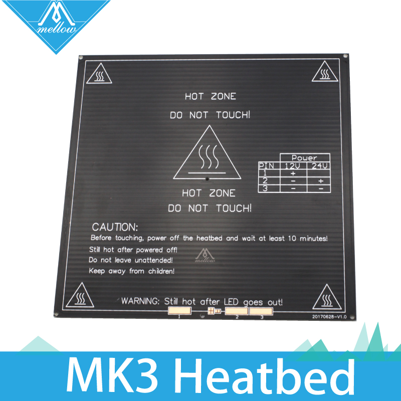 Aluminium Heated PCB Bed 12V 24V Heatbed Plat 200x300mm for MK3 3D Printer