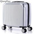 QiangHao!Universal 8 Wheels Hardside ABS PC Travel Trolley Luggage Suitcase 1 Piece 18 inch Silver Color Upright Durable Fochier
