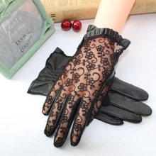 Touch Screen Genuine Leather Women Summer Lace Gloves Female Sunscreen Anti-slip Anti-UV Gloves Guantes Ladies Elegant Gloves summer sunscreen silk sleeves drive womens sexy thin gloves summer lace gloves driving lace guantes guantes sin dedos para mujer