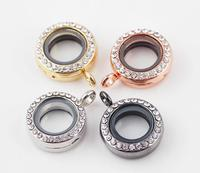 10pcs/lot 4Colors 20mm Zinc Alloy Round Openable Floating Locket With Rinestone Magnetic Glass Living Memory Locket Pendant