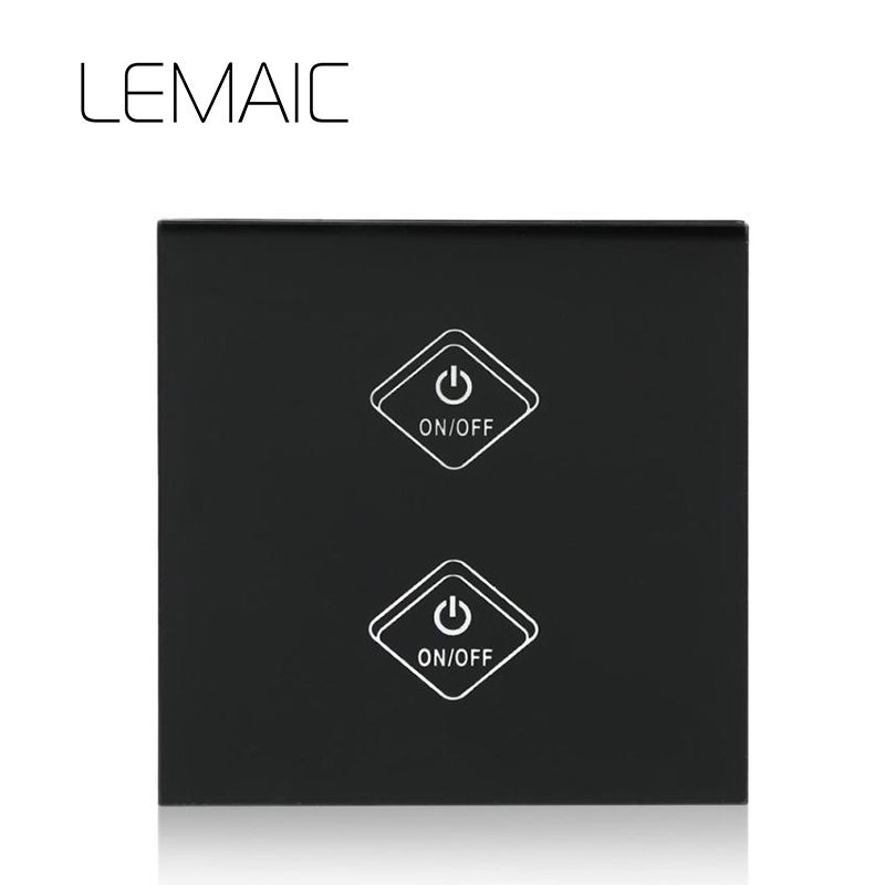 LEMAIC WiFi Smart Switch 2 Gang Light Wall Switch APP Remote Control Work with Amazon Alexa Google Home Glass Panel Smart Home work with amazon alexa google home 90 250v smart wi fi switch glass panel uk 3gang touch light wall switch ewelink app