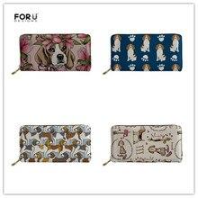 FORUDESIGNS Women Wallets for Credit Card Female Beagle Flower Printing Long Zipper Phone Purse Ladies Brand Luxury Wallet Girls