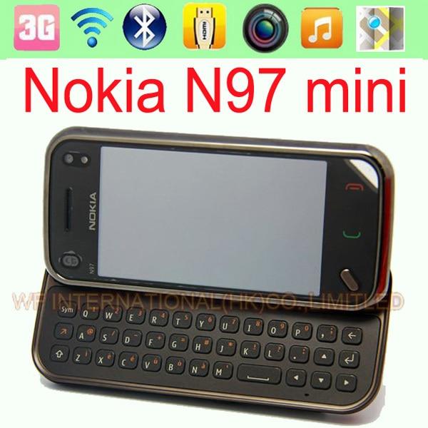 100 Original Nokia N97 Mini Mobile Phone Unlocked 5MP 3G WIFI GPS Bluetooth QWERTY keyboard 3