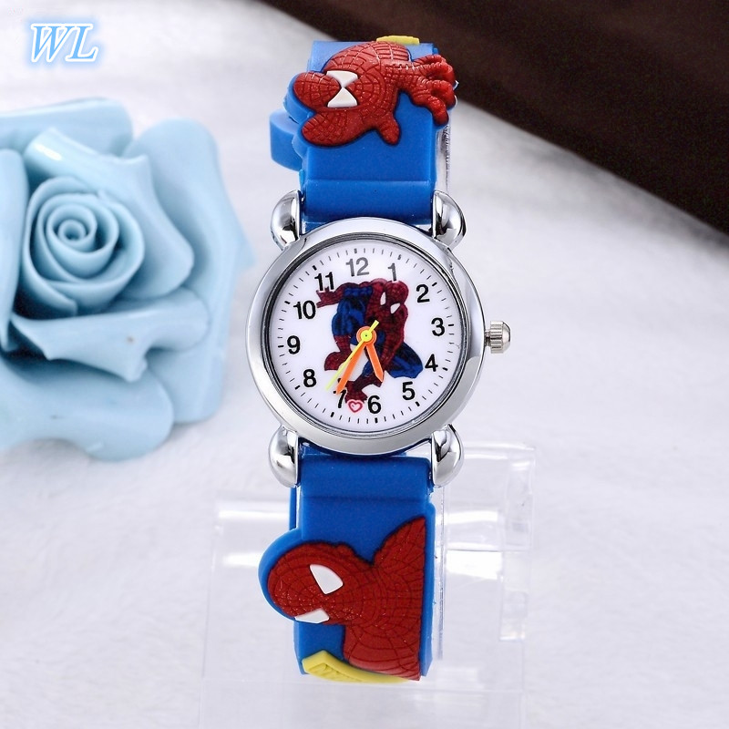 Drop Shipping 1pcs Retail Hot Sales 3D Cartoon Spiderman Kids Student Boys Birthday Gifts Watch Quartz Silicone Alloy Wristwatch jinnaier 2017 new hot sales fashion 7colors retail men silicone sport wristwatch quartz watch