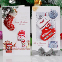 8 Pcs/lot Christmas Element Handmade Three-dimensional Card Merry Paper Greeting Cards Gifts