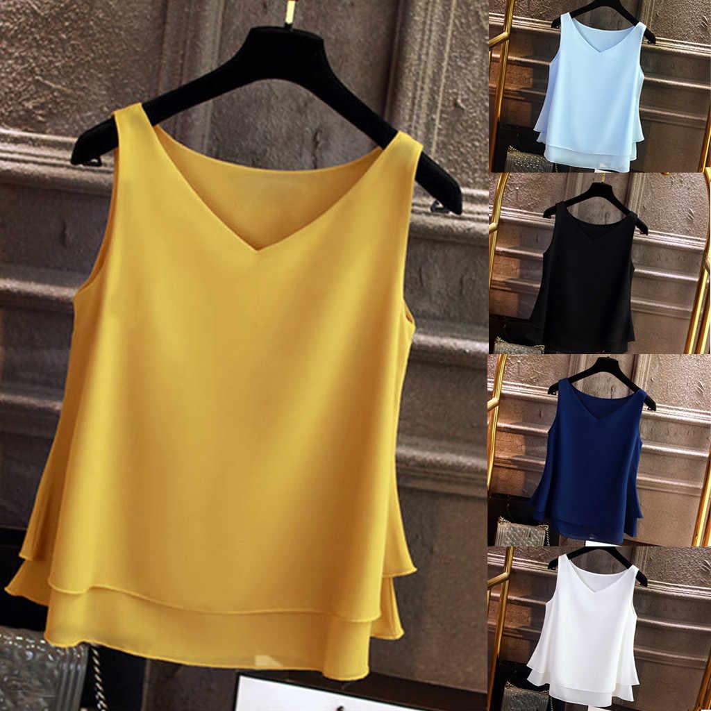 MUQGEW 2019 夏白人女性タンクトップス女性の夏のノースリーブシフォンシャツ V ネックカジュアルブラウストップ # Y4