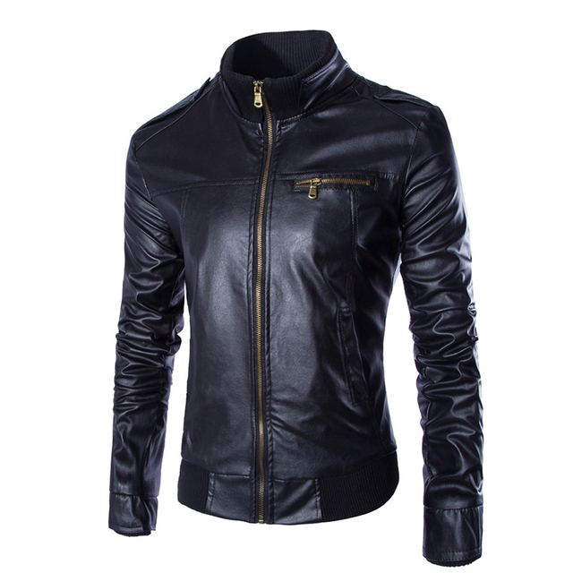Fashion Retro Style Men's Leather Jacket Faux Leather Motorcycle Jackets Slim Fit Bottom Rib Breast  Pocket Black Brown Coffee