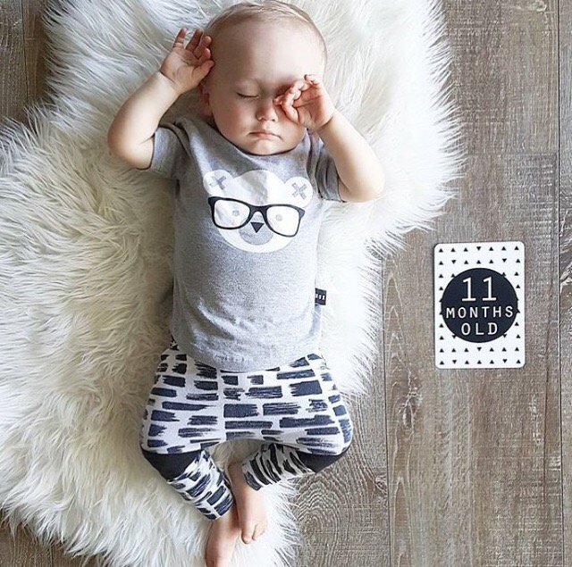 2018 Summer Baby boy cotton clothing Printing glasses Short sleeves T-shirt + Long pants children baby boy 2 pieces set