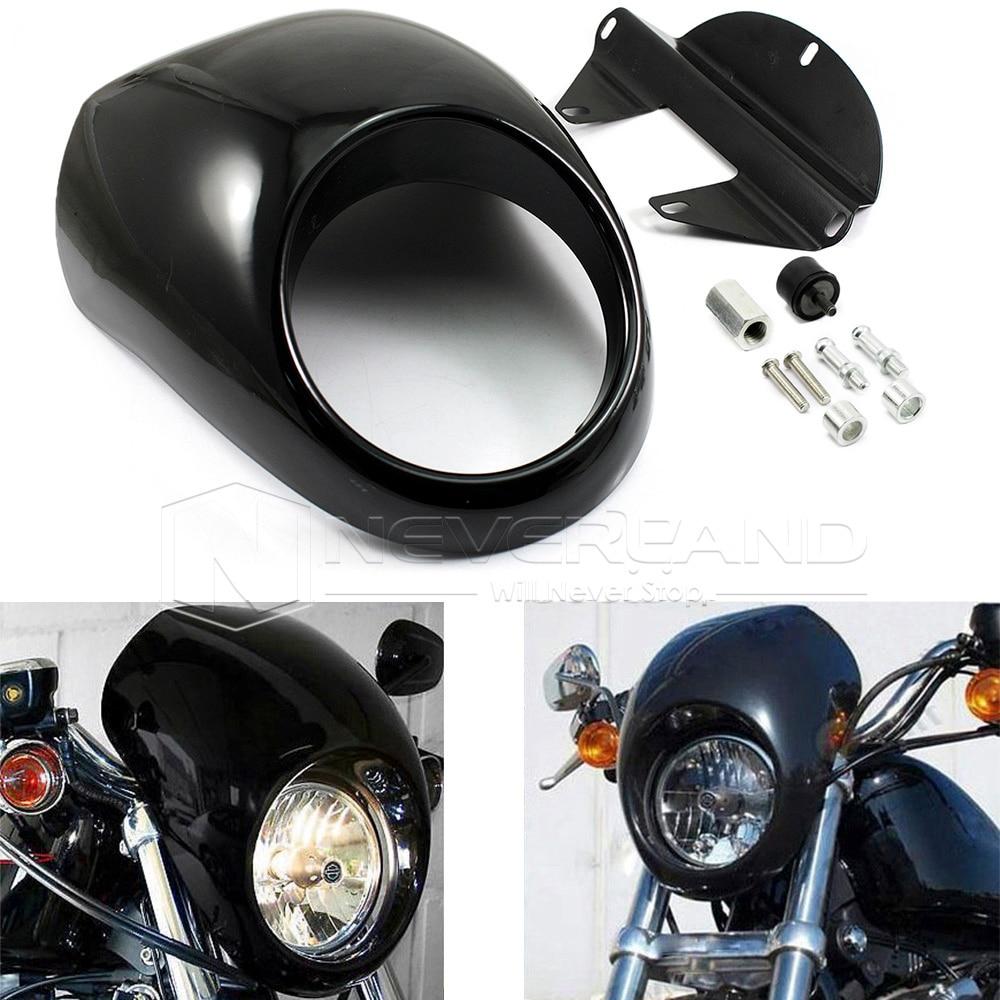Gloss Black Front Headlight Fairing Mask Cowl For Harley Sportster Dyna FX/XL 1200 883 Motorcycle Freeshipping D10 paradigm cinema trio gloss black