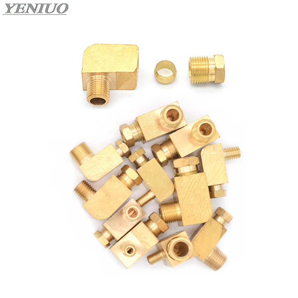 Machine Tool Lubrication Brass Oil Pipe Fitting 4 6 8mm OD Tube Compression Ferrule Tube Compression Fitting Connector Adapter