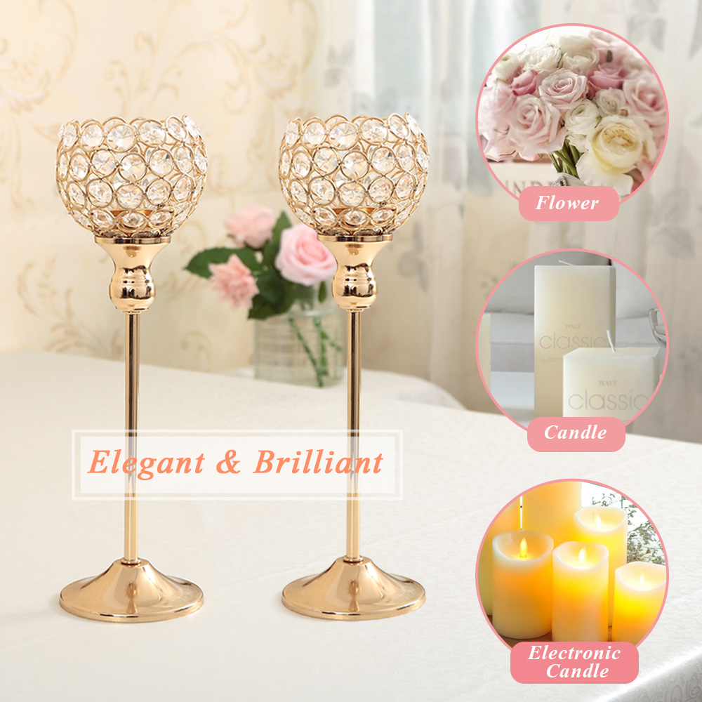 Gold Crystal Candle Holder Wedding Centerpiece Candlesticks Flower ...
