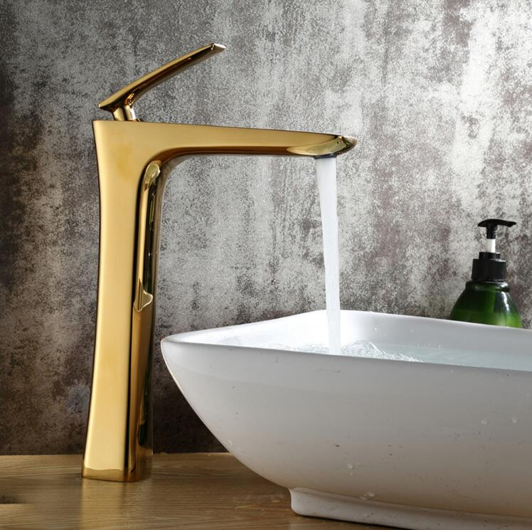 luxury golden finished brass faucet bathroom faucets single handle cold and hot water tap mixer high basin faucet bathroom basin faucets modern chrome finished bathroom faucet single hole cold and hot water tap basin faucet mixer taps