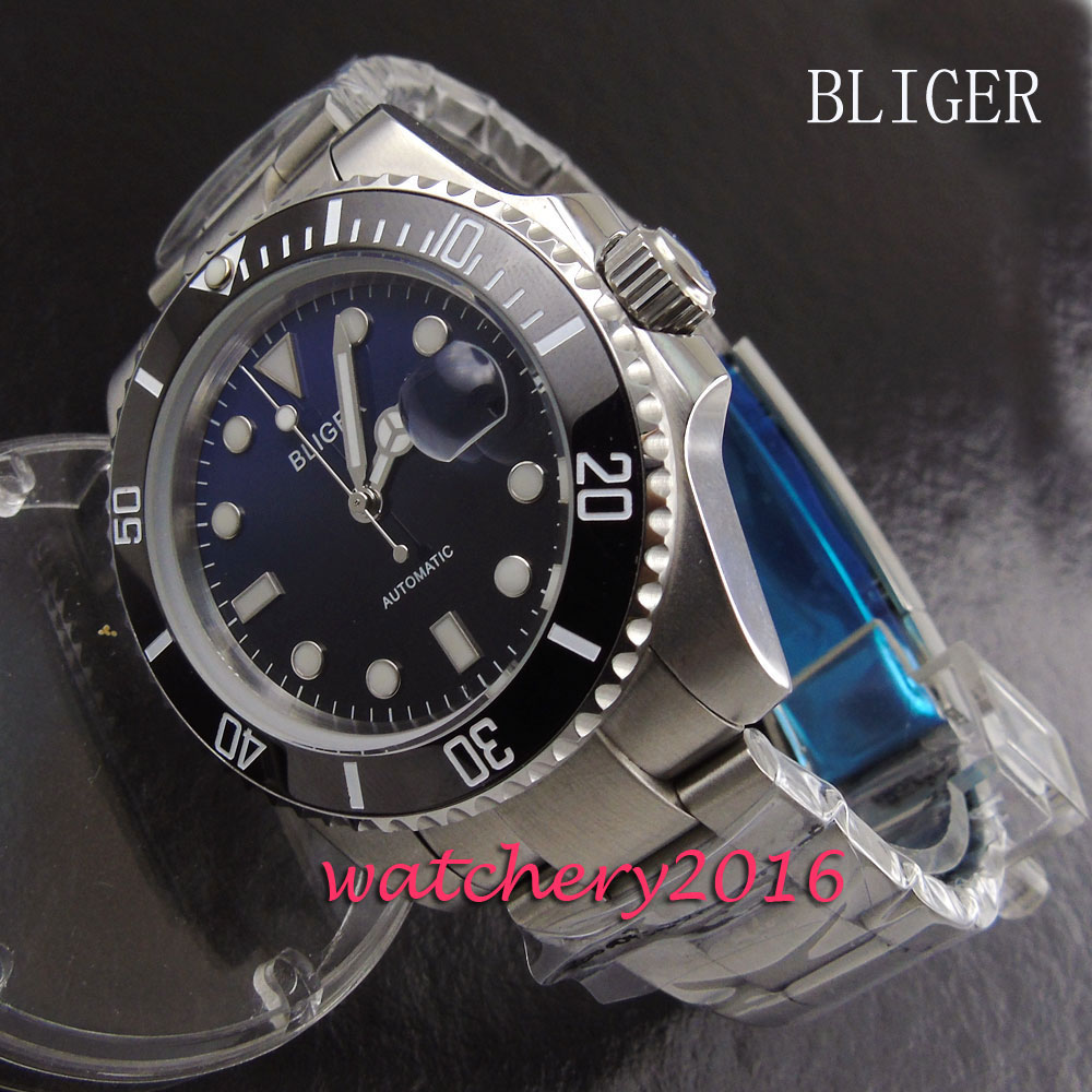 43mm Bliger blue & black dial black ceramic bezel luminous marks date sapphire glass Automatic movement Men's Watch
