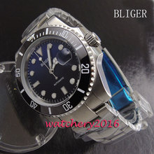 43mm Bliger blue & black dial black ceramic bezel luminous marks date sapphire glass Automatic movement Men's Watch
