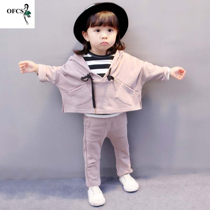 Children's Clothing Suit Cotton Products For Girls Hooded Coat+Stripe Vest+Trousers Spring & Autumn Kids Sets Baby Clothes 3 Pcs