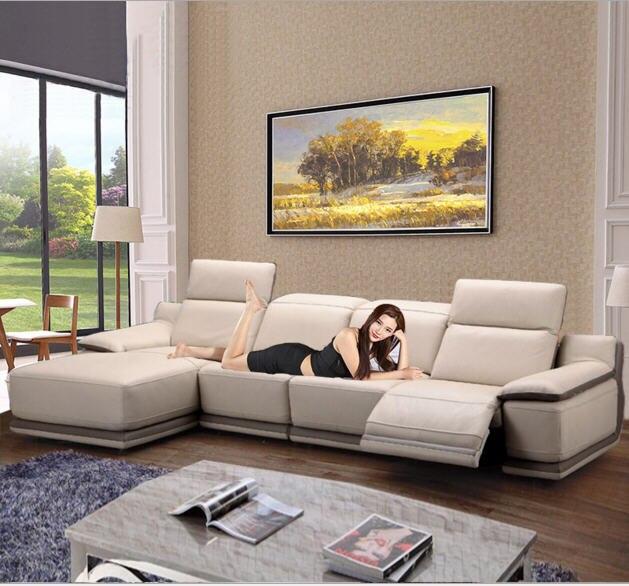 Salon Canapé ensemble canapé d'angle inclinable électrique canapé en cuir véritable sectionnel canapés muebles de sala moveis par casa