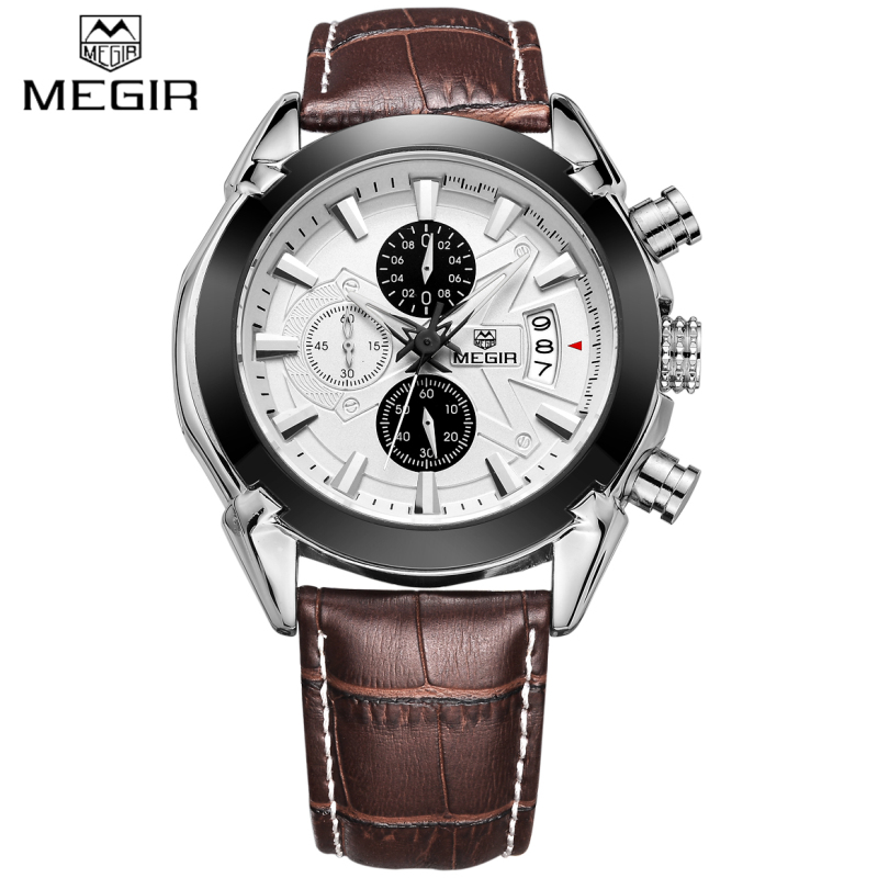 New Luxury Brand MEGIR Brown Leather Band Chronograph Quartz Watch Men Sports Waterproof Wristwatch Clock Man