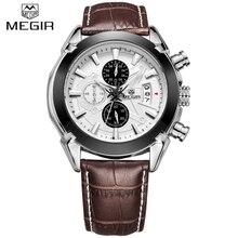Nouvelle Marque De Luxe MEGIR Brun En Cuir Bande Chronographe Quartz Montre Hommes Sport montre-Bracelet Étanche Horloge Homme relogio masculino