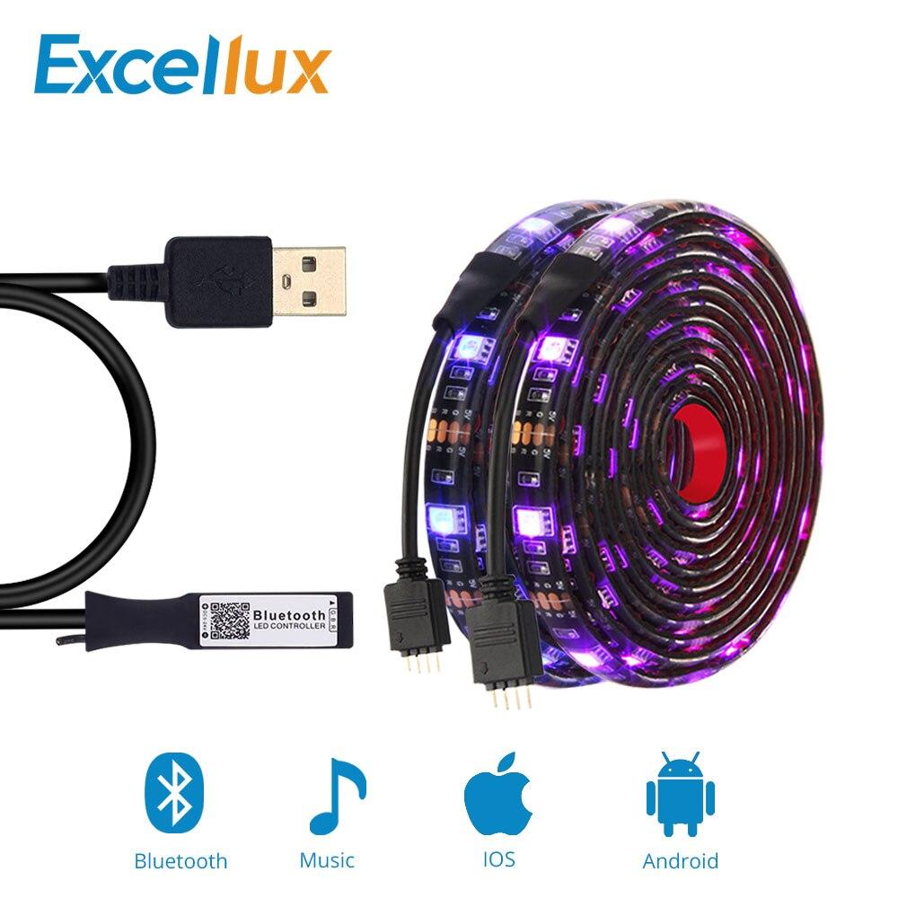 Led Bluetooth Strip Set 5050 RGB USB Led Strip Light Waterproof Flexible Led Ribbon Tape Music Strip For TV Backlight 50CM 1M 2M bluetooth