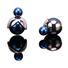 Top Popular New Fashion Hot Sale jewelry double side matte 16MM simulated pearl stud star flower gift for women girl