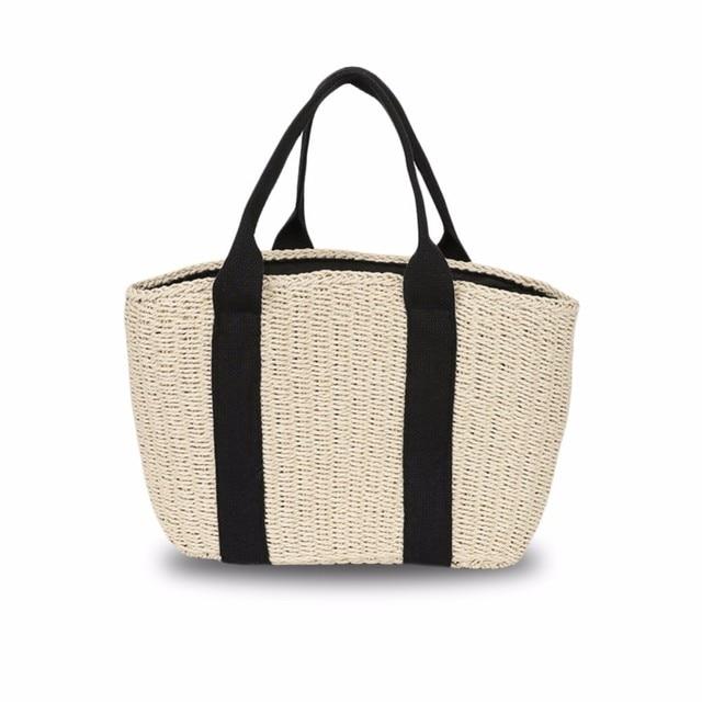 Portable Straw Woven Bag Handmade Storage Basket Beach Picnic Bag For Women