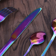 Stainless Steel Flatware Set Rainbow Colorful Cutlery Knife Fork Spoon Teaspoon