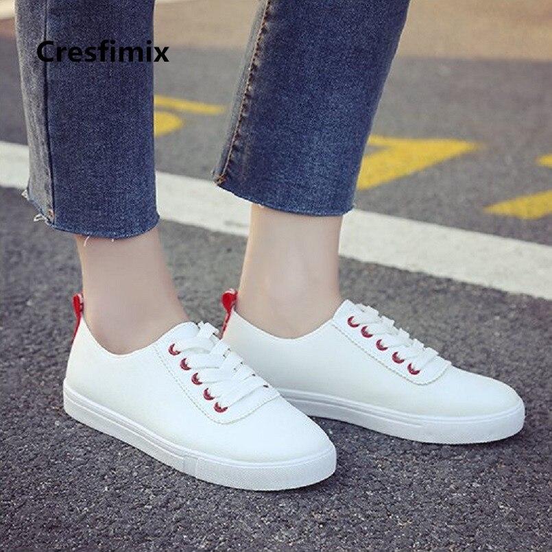 Plates Cresfimix Printemps amp; Automne Chaussures b Cuir Mode Cool Confortable Pu C2413 Blanc Lacent De Et A Doux Dame Femmes qqw7vprF