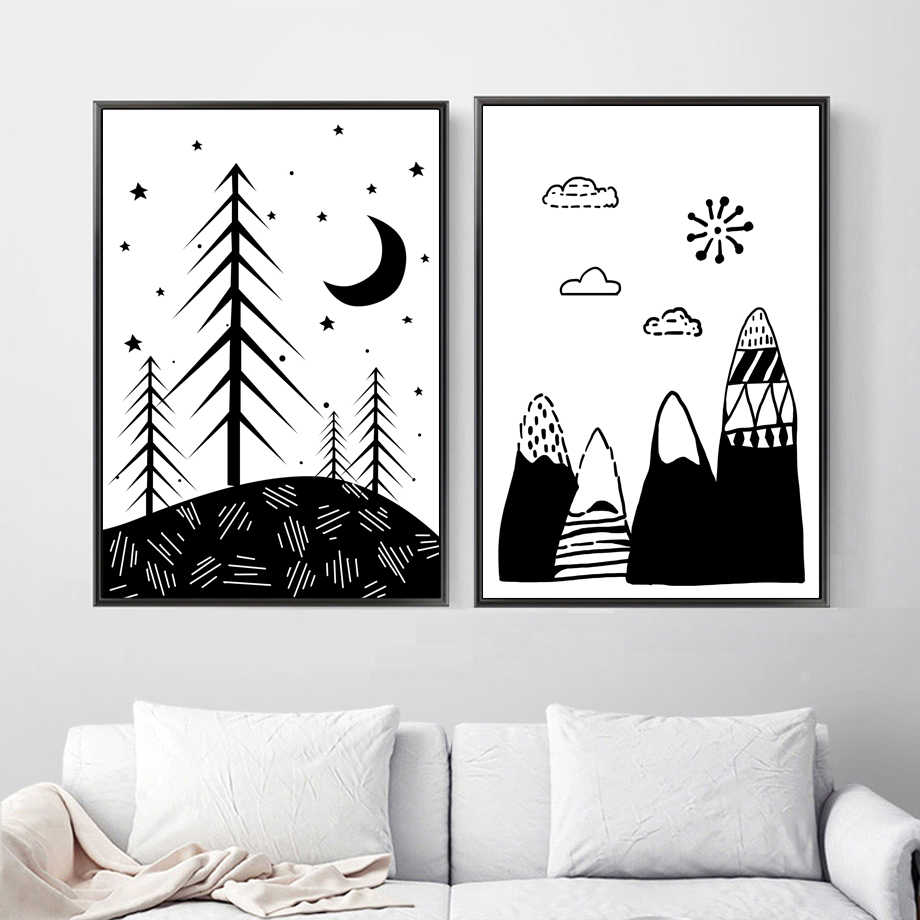 Black White Heart Mountain Moon Cloud Wall Art Canvas Painting Nordic Posters And Prints Wall Pictures Baby Kids Room Decor