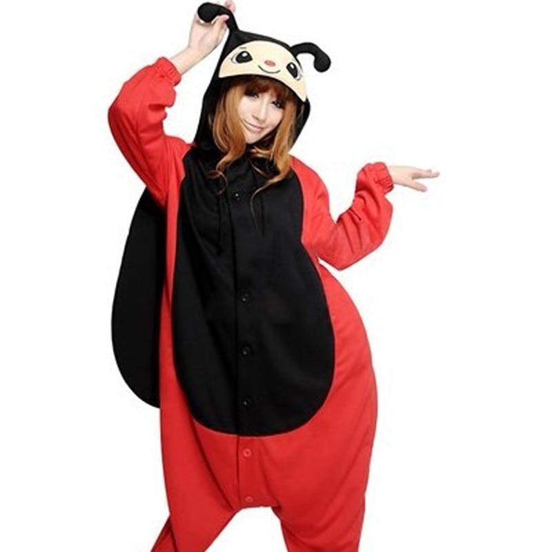 HKSNG Winter Adult Animal Ladybird Kigurumi Christmas Party Footed Ladybug  Beetle Pajamas For Women Onesies-in Pajama Sets from Underwear   Sleepwears  on ... bed20f37d1a86