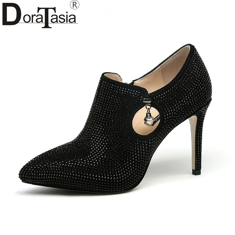 DoraTasia 2018 Spring Autumn Brand Special Material Deep Pumps Leather Insole Zip Shoes Woman Fashion High Heels Women Shoe siketu 2017 free shipping spring and autumn women shoes fashion sex high heels shoes red wedding shoes pumps g107